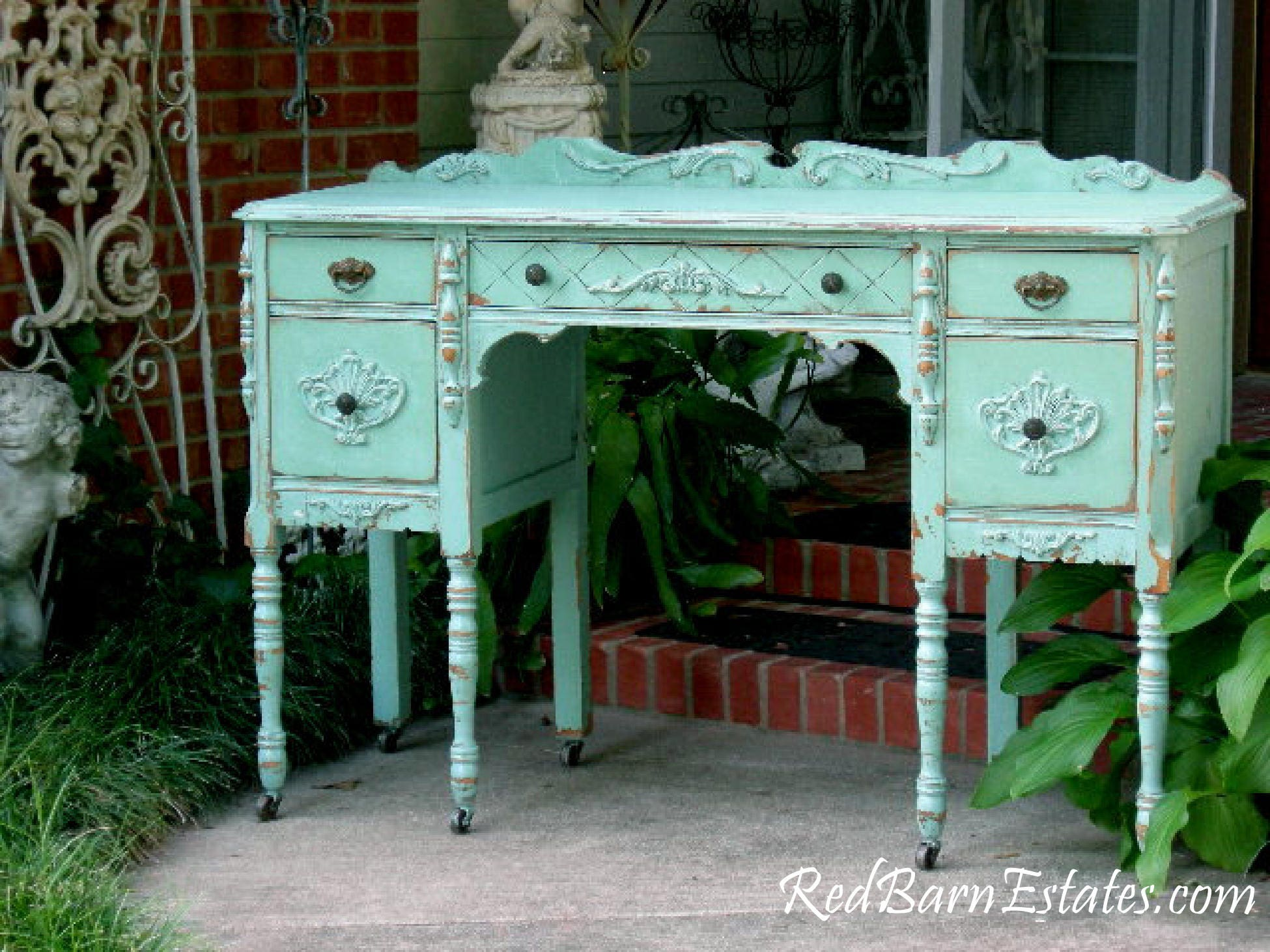 ANTIQUE DESK Custom Refinished To Order! Hand Painted Reclaimed Restored  Wood Shabby Chic Painted Ladyu0027s Desk