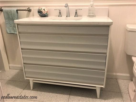 MID CENTURY Modern Bathroom Vanity Custom Converted From a 1950's Dresser Painted Bathroom Vanities Midcentury Modern 30 to 48 wide