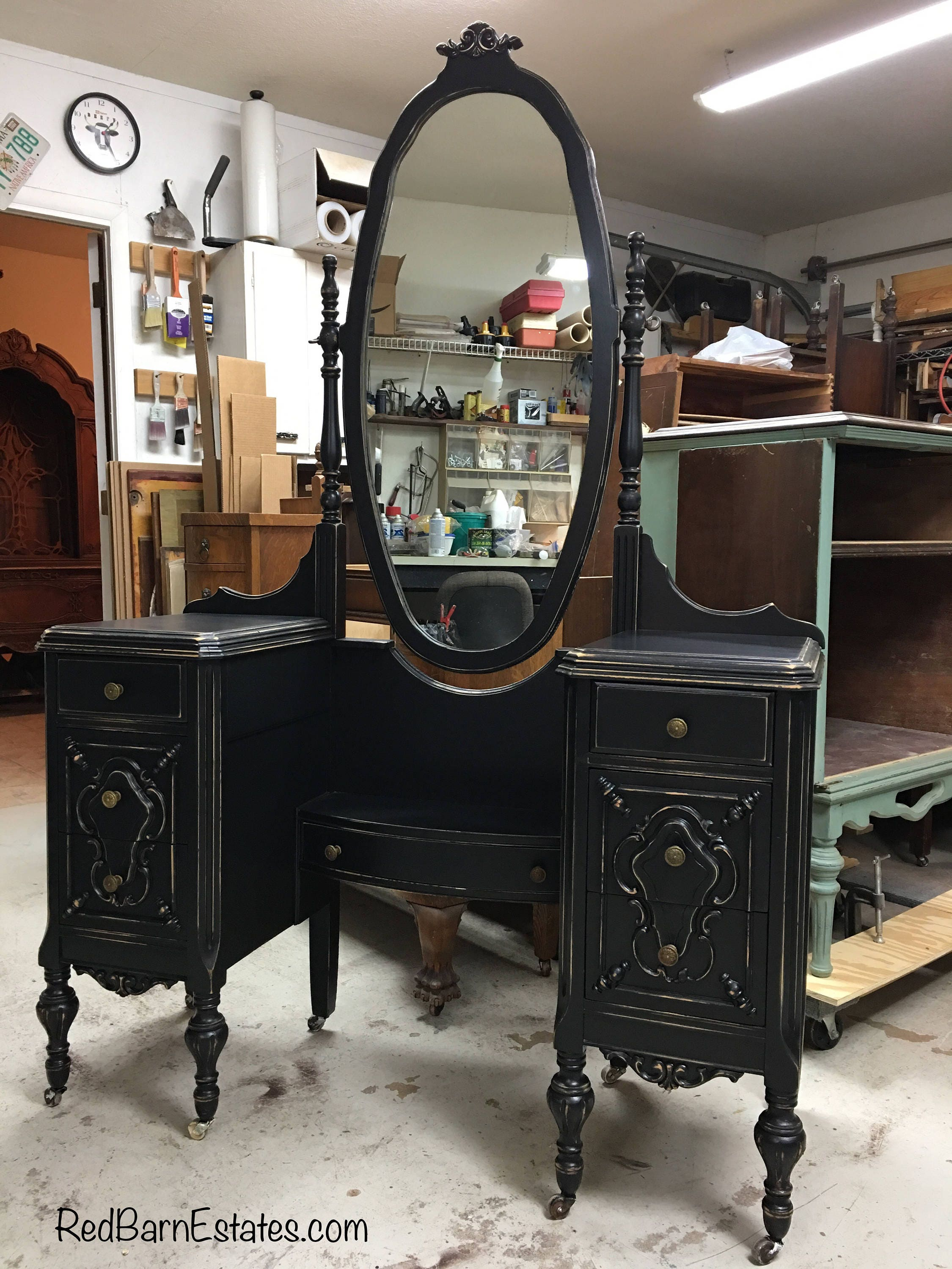 custom vanity order an antique vanity and mirror to be etsy 87963