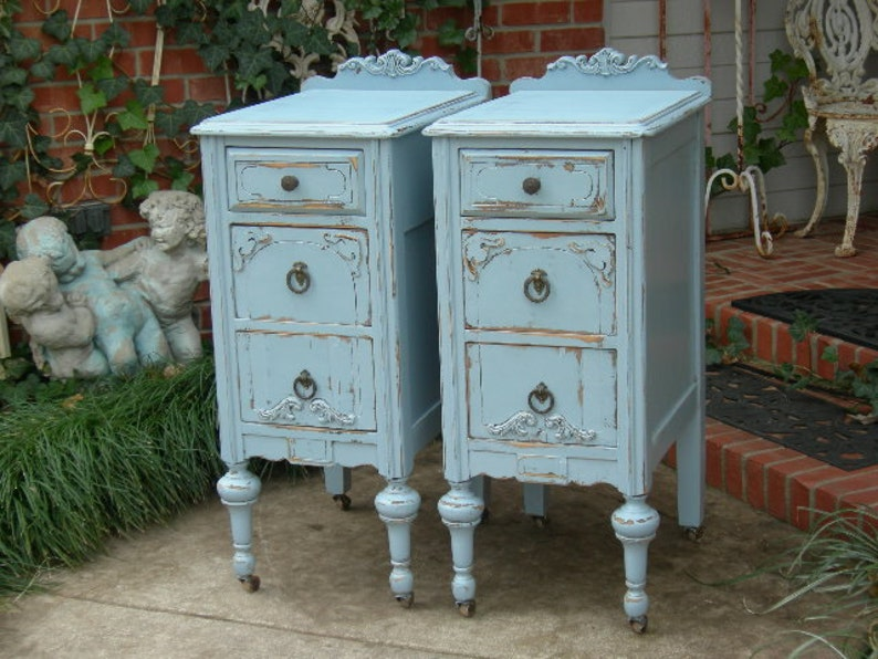 ANTIQUE NIGHTSTANDS  Painted Any Color  Re-purposed Wood image 0