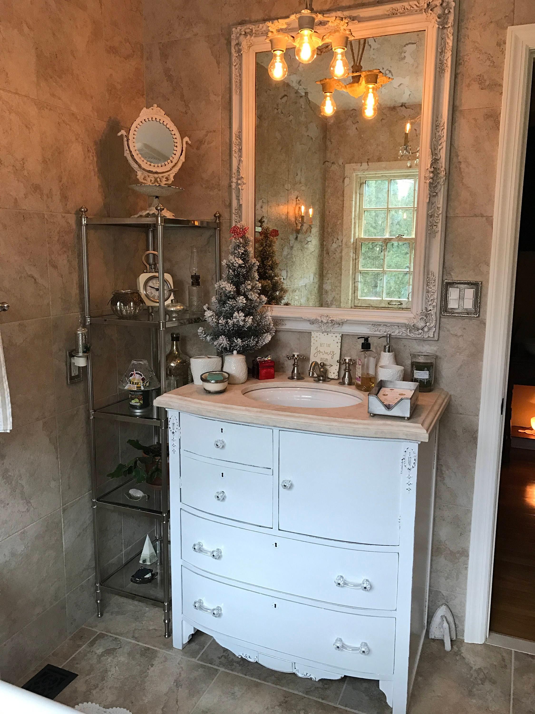 BATHROOM VANITY - Custom Order To Be Modified From Antique Dresser -  Painted - Distressed - Restoration Remodel Bath Vanities