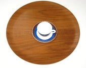Bent Wood Teak Large 18 quot Molded Serving Tray Table - Mid Century Danish Modern Bar Drinks Tray