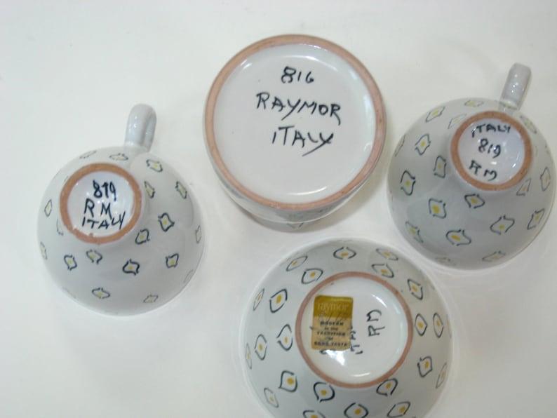 Mid Century Modern Art Pottery w Label Raymor Italy Signed Atomic Eyes 4 Piece Espresso Set