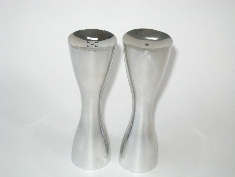 Pair Nambe Studio #6087 Salt /& Pepper Shakers Aluminum Alloy 1995 w Labels