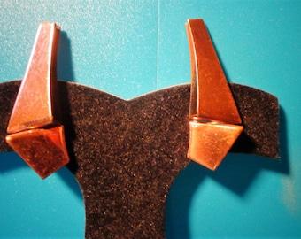 "RENOIR Copper EARRINGs Stunning MOD 1 3/4"" TALL Art Deco Signed Vintage Clip Matisse"