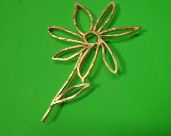 FLOWER Brooch Pin ~ thick metal Nature theme Vintage jewelry