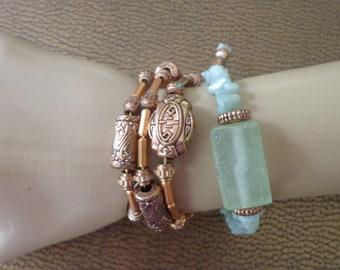 2 BRACELETS stone glass copper green Handmade wrap around memory wire