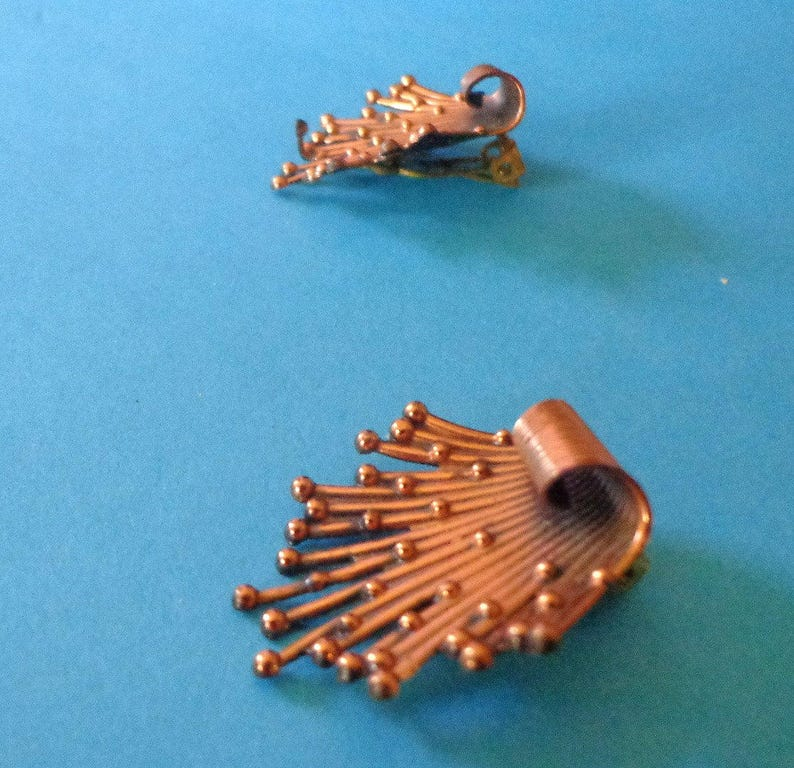 mint RENOIR EARRINGS Starburst COPPER Stunning Modernist Space age Matisse Clip Jewelry
