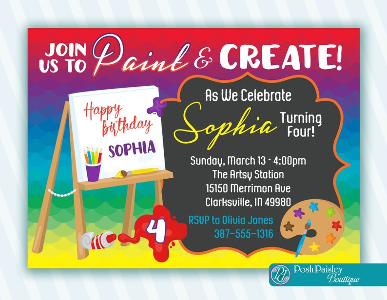 Art Party Invitation Printable Or Shipped Birthday Painting Kids Artist Paint Invite Rainbow Colors FREE SHIPPING
