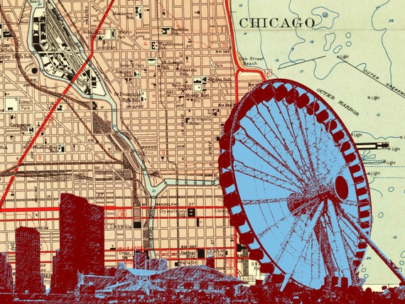 Chicago Navy Pier And Ferris Wheel With Map Background Wood Etsy