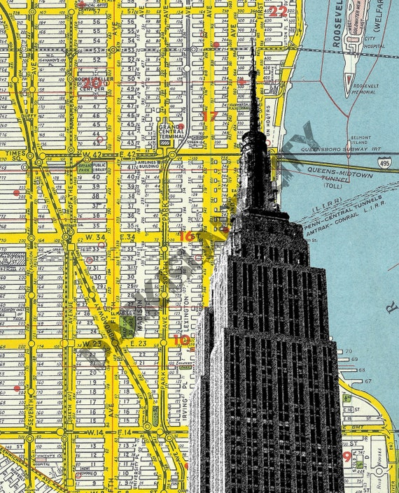 NYC Large Art Print - New York City - Empire State Building - NYC Map  Background - 10.5x 13 Print Home Office Decor urban