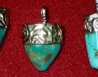 Turquoise Pendant in Tibetan Silver