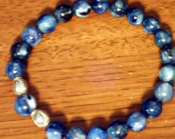 Kyanite 8 mm beaded Bracelet with sterling beads  size 8.