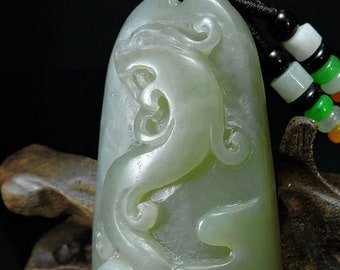 Peach Bat and Ruyi Jade carved Pendant with jadite beaded cord