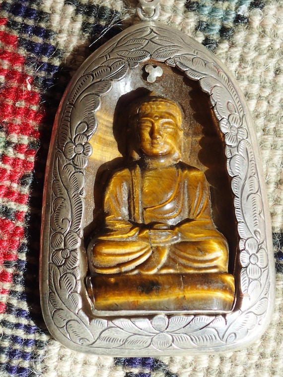 Buddha Pendant with Sterling Silver. Large carved