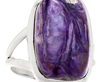 Siberia Charoite Sterling Silver Ring  s.6