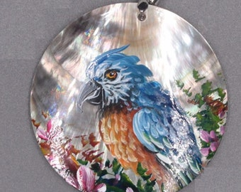 Hand Painted Parrot Bird on Shell Pendant Necklace