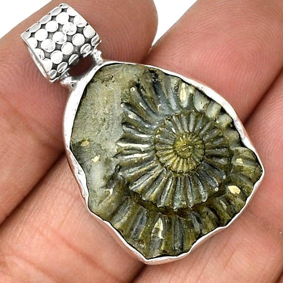 Pyritized ammonite pendant