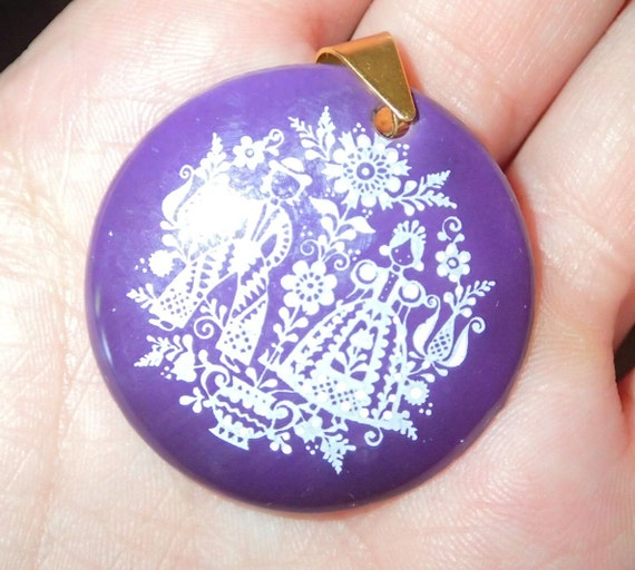 Austrian enamel pin dishes Pair of vintage enamel pin dishes Traditional folk art style.