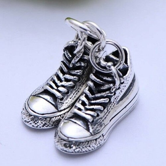 Two Basketball Canvas Shoes in Sterling Pendant