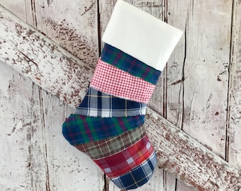 Primitive Christmas stocking made flannel repurposed fabric vintage rustic stocking