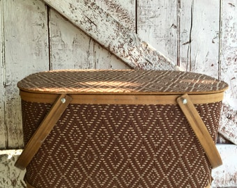 Wicker picnic basket vintage with wooden handles tweed pattern