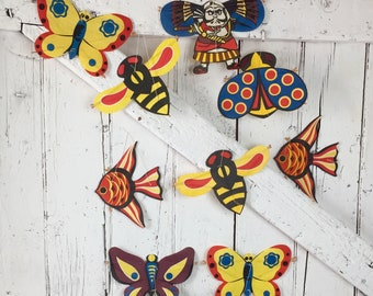 Japanese Paper Kites Nine small Kites in original box vintage butterfly, fish pirate beetle bee kites
