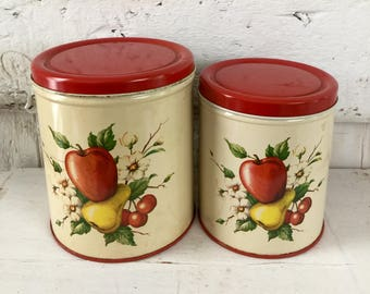 Pear apple tin canister set DECOWARE Tin Canister set