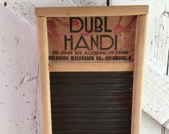 Washboard DUBL HANDI Wash Board Columbus Washboard Co, wood and tin primitive rustic country cottage laundry room