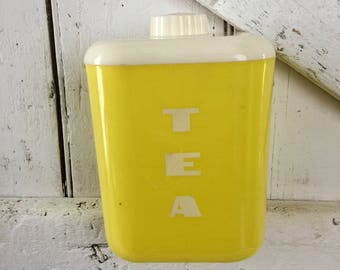 Yellow canister tea canister vintage Lustro Ware Yellow plastic