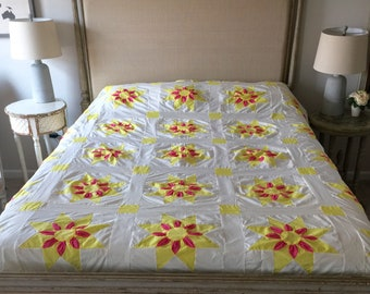Dahlia Quilt Top pink yellow on white Unfinished  quilt top vintage