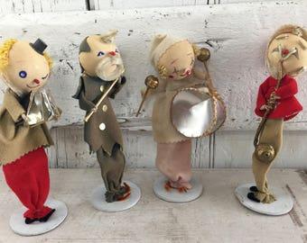 Felt clowns musicians 1960s ornaments vintage kitsch Christmas made in Japan