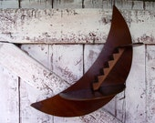 Vintage Crescent Moon Wall Shelf 1940's Art Deco Wood staircase to heaven wall hanging