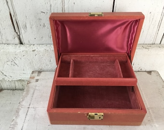 e54017da8 Vintage Jewelry Box Coral Gold Tooled Edge Leather Jewelry Box Chest