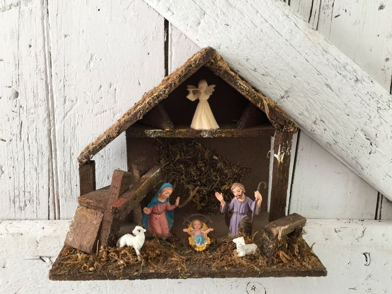 Nativity Christmas Creche Mary Joseph Baby Jesus In A