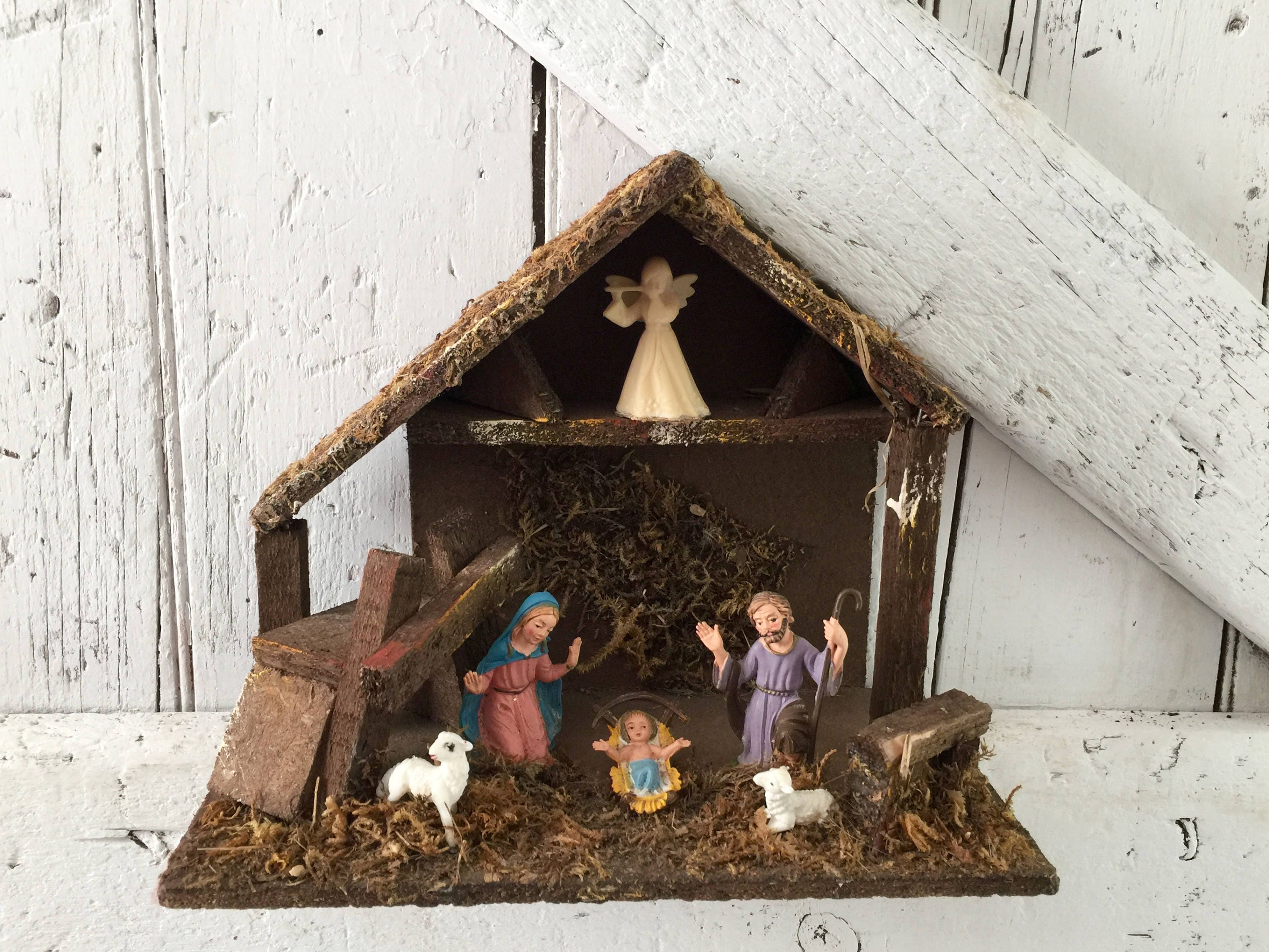 Nativity Christmas Creche Mary Joseph Baby Jesus in a Manager   Etsy