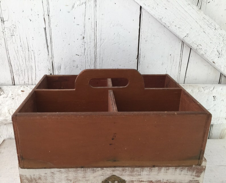 Wooden Basket Or Trug Wood Box With Cubbies Antique Wood Box With Handle