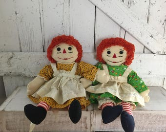 Raggedy Ann Rag Doll stuffed doll set of two vintage Handmade Lime green and orange outfit stuffed toy