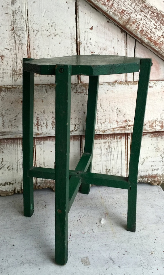Wooden Table Green Plant Stand Primitive Small Wood Side Table Primitive Rustic Chippy