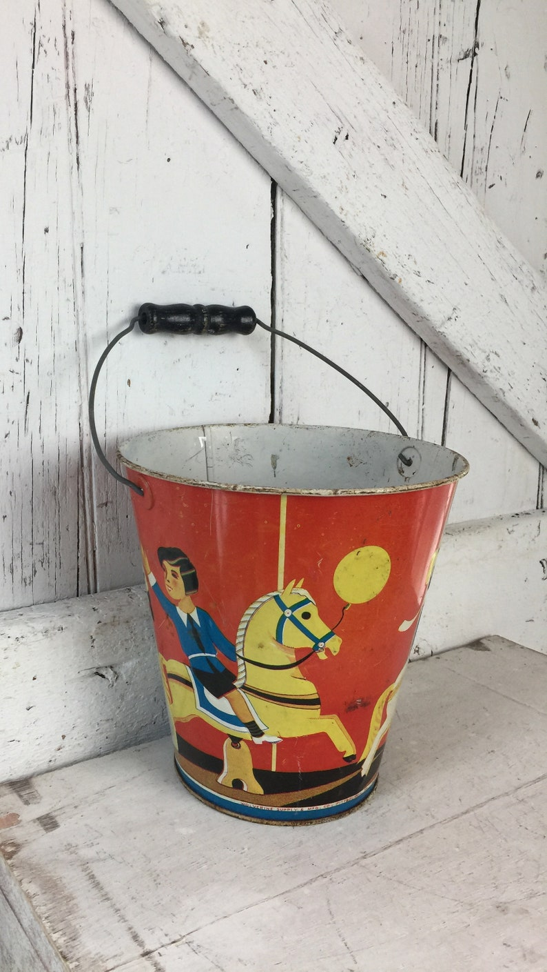 Sand Pail Childs beach bucket metal pail vintage circus theme Metal pail