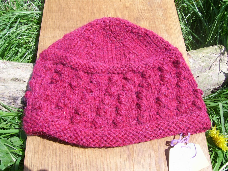 Hand knitted Hat in 5050/% wool and alpaca yarn