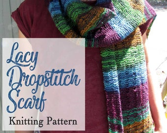 Scarf Knitting Pattern for Women, Easy Lacy Scarf Knitting Pattern,