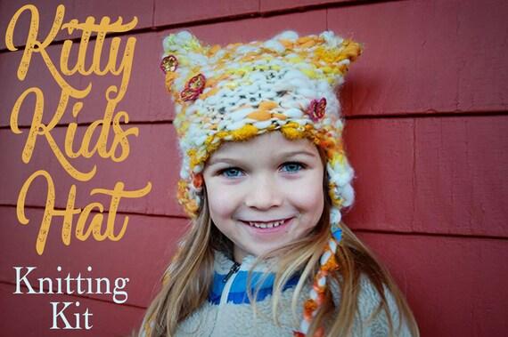 Kids Hat Pattern Childrens Hat Knitting Kit Cat Hat Kitty Etsy