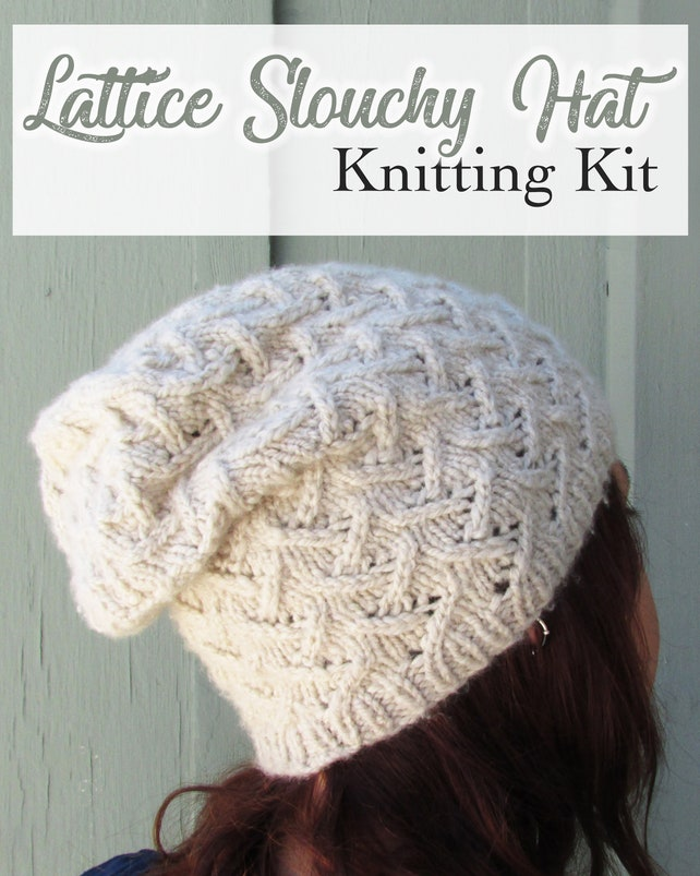 Easy Slouchy Beanie Knitting Kit Lattice Stitches Cabled | Etsy