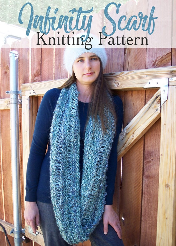 Knitting Pattern Infinity Scarf Moebius Cowl Wrapped Scarf Etsy