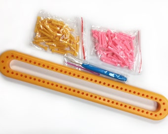 Long Knitting Loom, Knitting Board with Removable Pegs, like Knifty Knitter, 14 Inches for Scarves using Bulky to Lightweight Yarn
