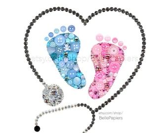Baby Footprints   Baby Feet   Stethoscope   Nurse Gifts   Doctor Gifts   Boy Girl Twins   Button Art   Swarovski Crystals   Birth Stats