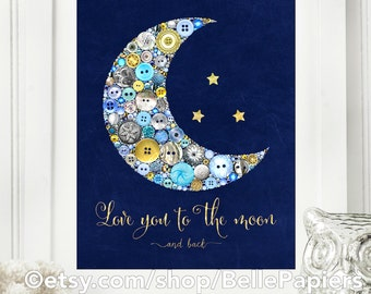 Love You to the Moon Prints | Framed Button Art PRINT | Gender Neutral Nursery | Moon Decorations | Dream Big Little One | Baby Shower Gifts