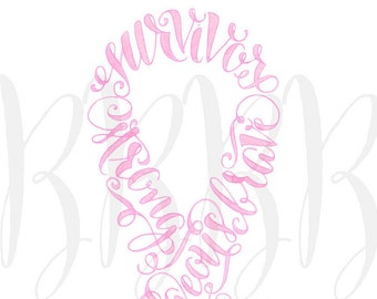 Cancer Ribbon Wall Art Pink Ribbon Custom Handwriting Breast Cancer Survivor Inspirational gifts Remission Congratulations You Beat Cancer