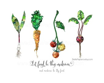 Let Food Be Thy Medicine and Medicine Be Thy Food, Vegetable Wall Art, Kitchen PRINT, Kitchen Decorations, Gifts for Vegans, Vegetarians